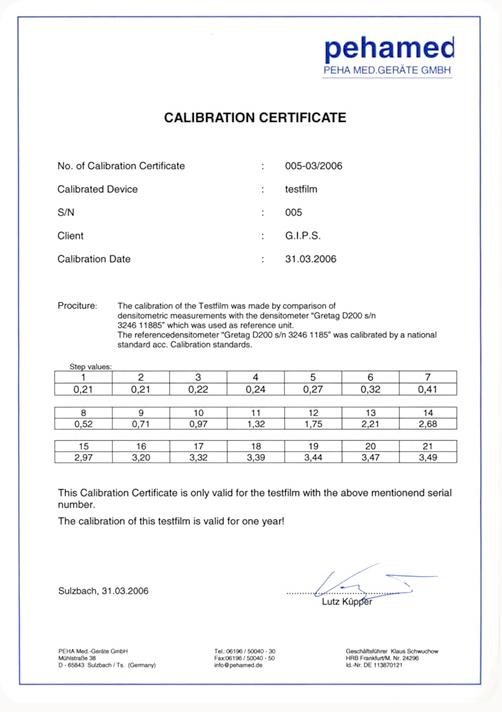 film_etalon_densitometre_certif_pehamed